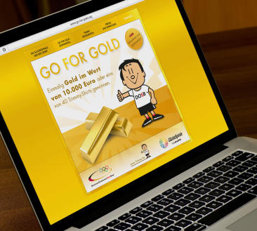 "Go for Gold-Aktion mit ""Trimmy"" auf der Aktions-Website"