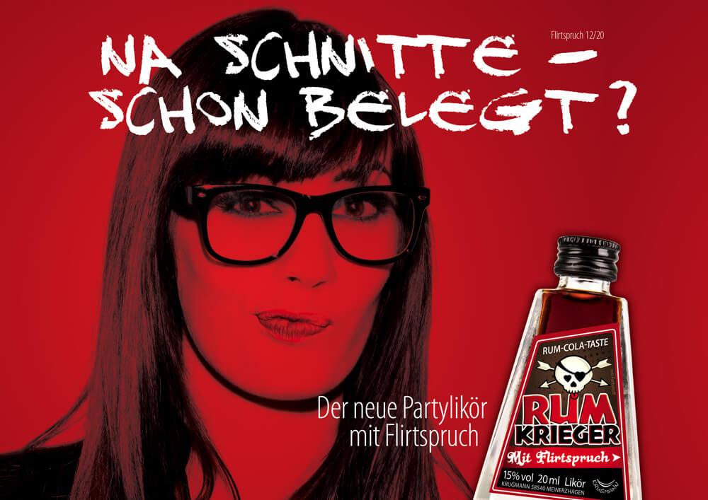 """Kampagnenmotiv für Produkt-Konzept """"Rumkrieger"""" für Krugmann Spirituosen. Der erste Partylikör mit versteckten Flirtsprüchen."""