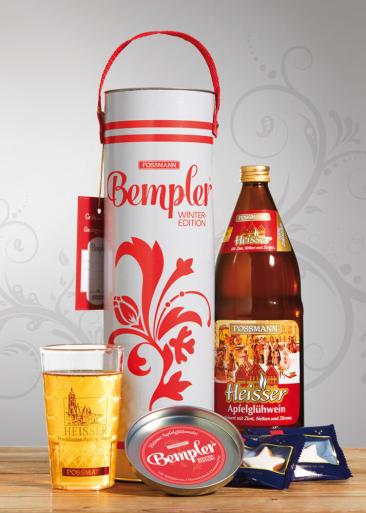 """Produkt-Konzept """"Bempler"""" für Possmann. Das hessische Picknick to go. Bempler Winter-Edition mit 1 Liter Apfel-Glühwein, Thermobecher und Zimtsterne."""