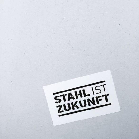 Stickerdesign für Unternehmen - Stahl ist Zukunft